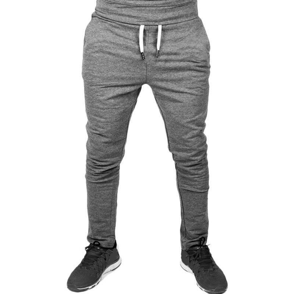 Men Solid Color Gym Fitness Casual Pants Dark gray_XXL