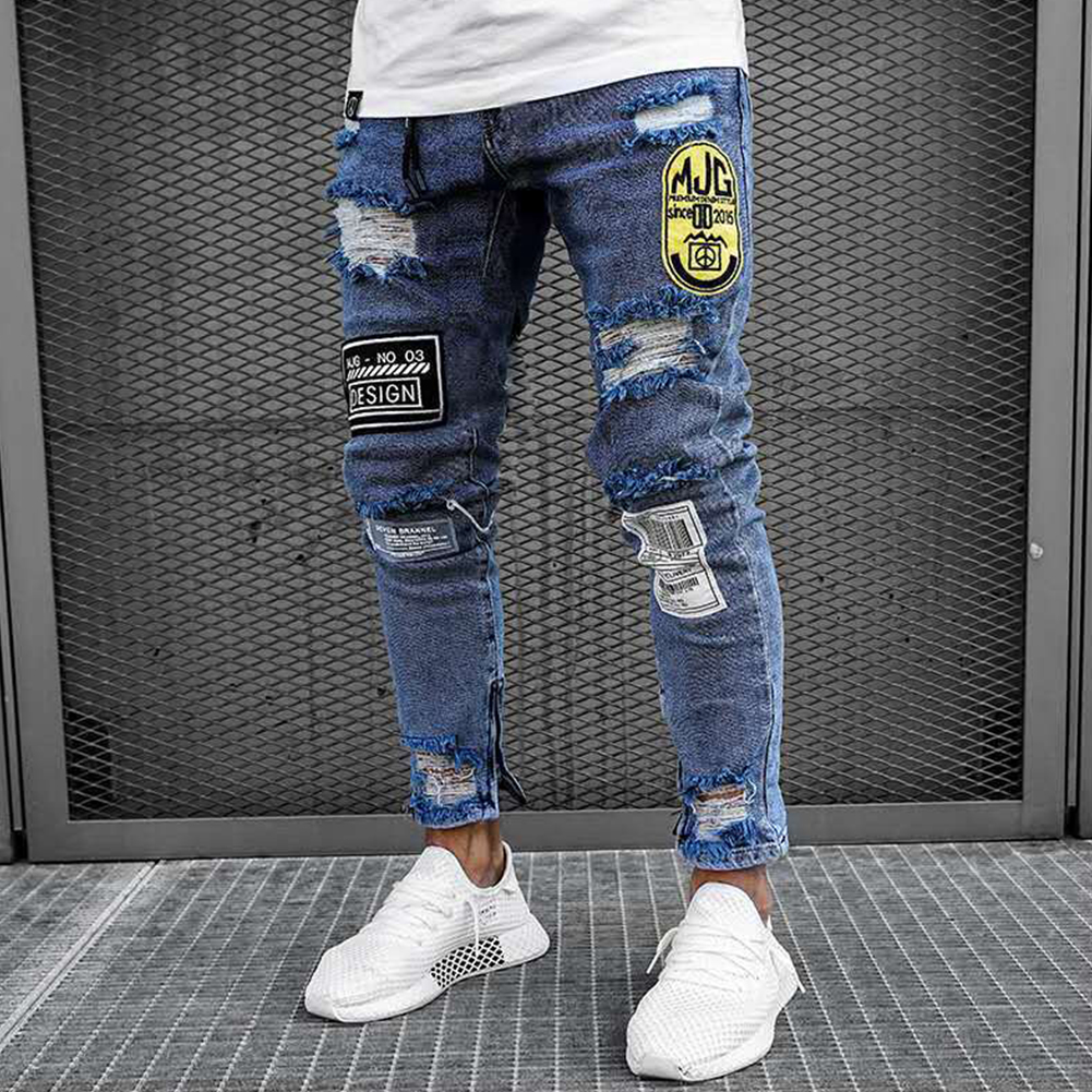Men Broken Hole Badge Patch Slim Elastic Jeans Pants Nostalgic blue_XL