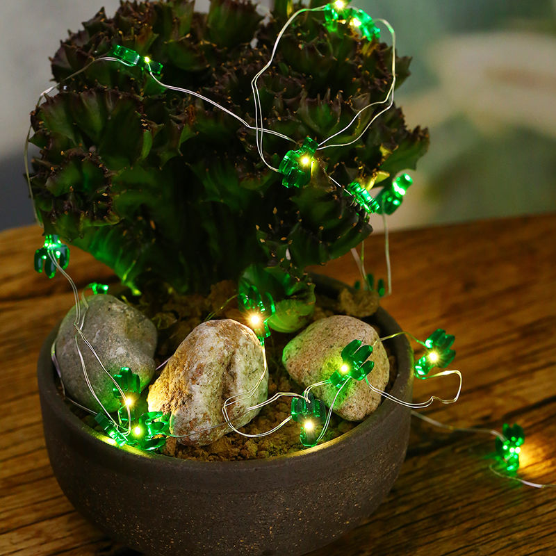 2M 20LEDs Green Cactus LED String Fairy Light for Festival Party Home Garden Decoration Green silver line