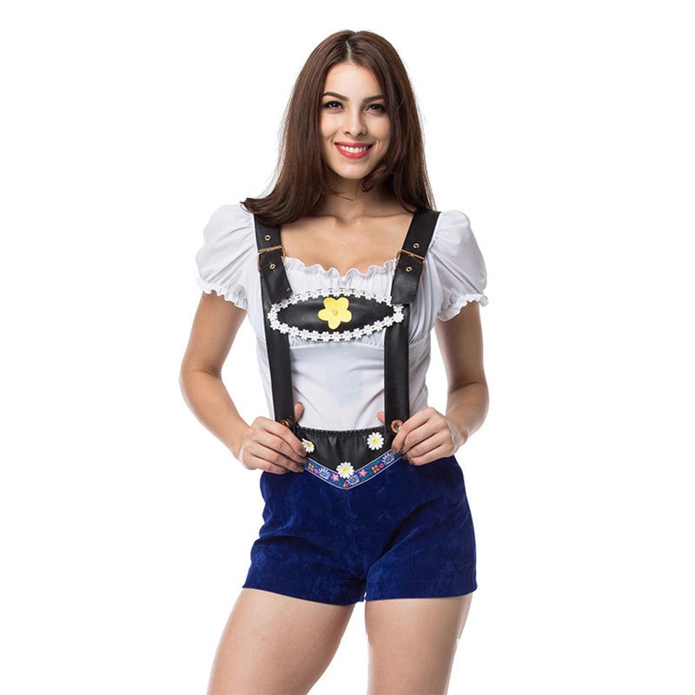 Woman Leather Sling  High Waist Shorts Suit Halloween Special Festival Costume Bar Waitress Suit blue_L/XL