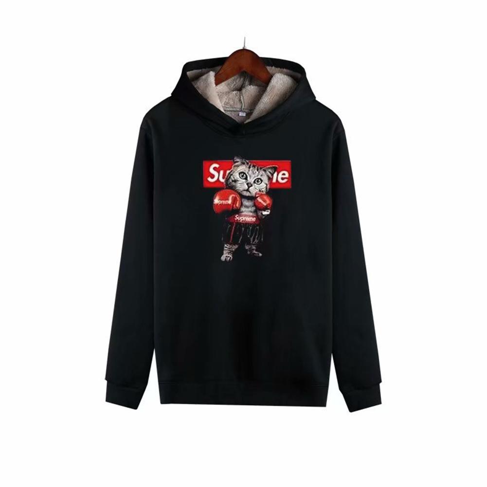 Men Autumn Winter Pullover Hooded Sweater Loose Long Sleeve Fleece Line Tops Hoodie 1#_XL