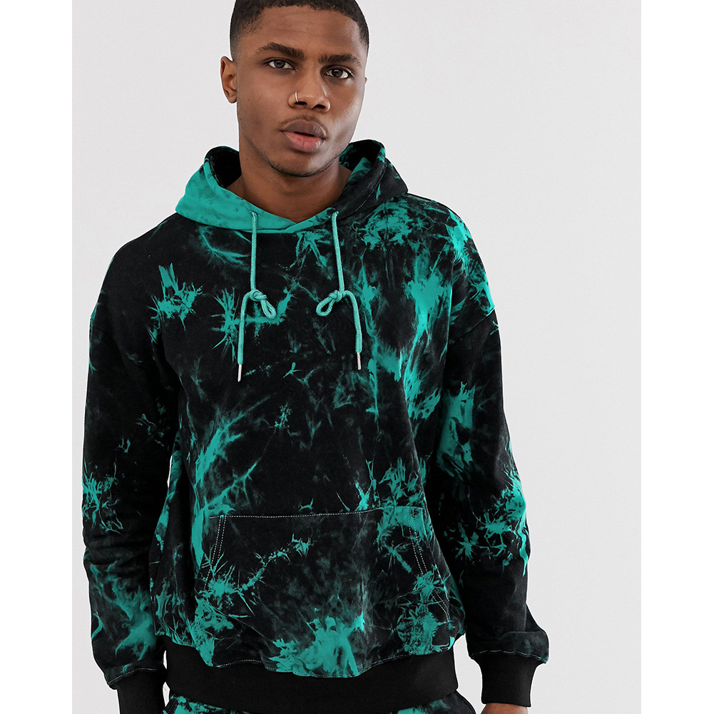 3D Digital Hoodie Leisure Sweater Floral Printed Gradient Color Top Pullover for Man H512 Top_L