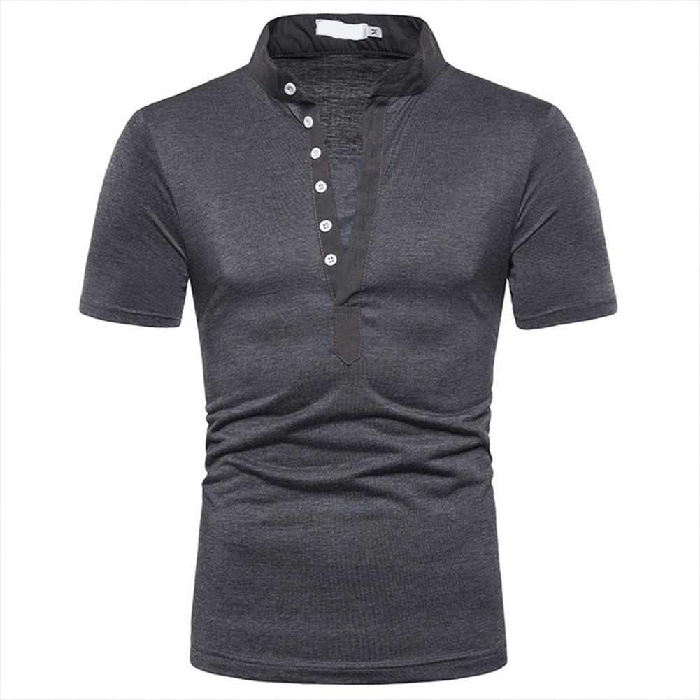 Fashion Men Slim Fit V Neck Short Sleeve Muscle Tee T-shirt  Dark gray_XL