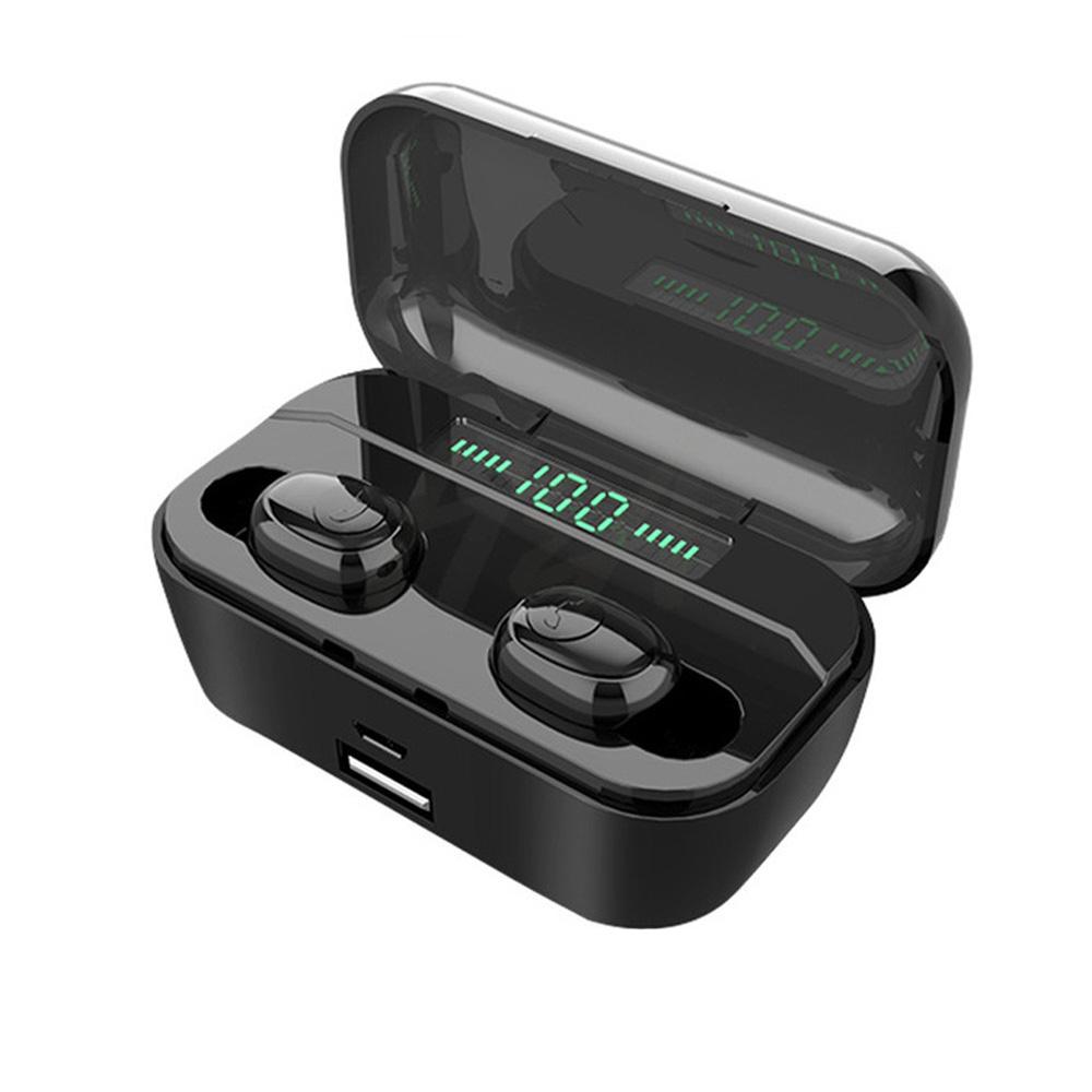 G6S Wireless Headphones 8D Stereo Bluetooth 5.0 Earphones LED Display Headset IPX7 Waterproof Earburd black