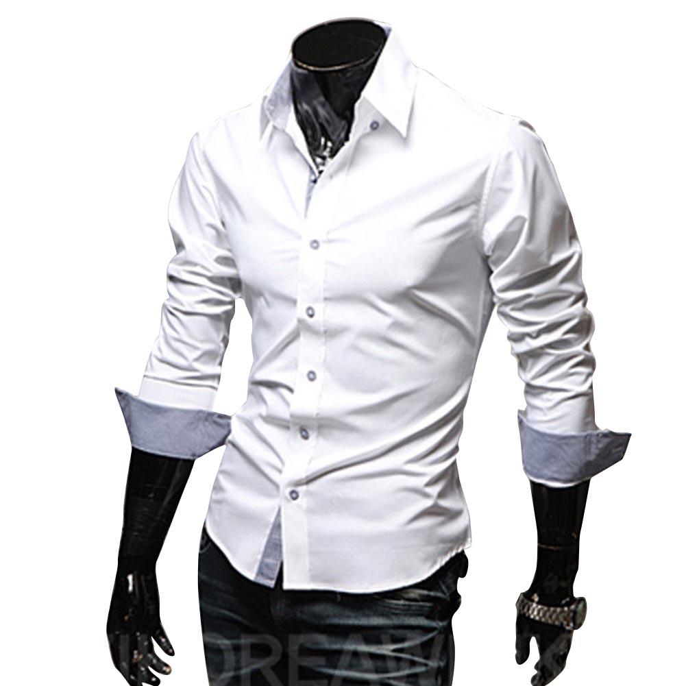 Men Fashion Casual Solid Color Long Sleeve Slim Shirts  white_XL