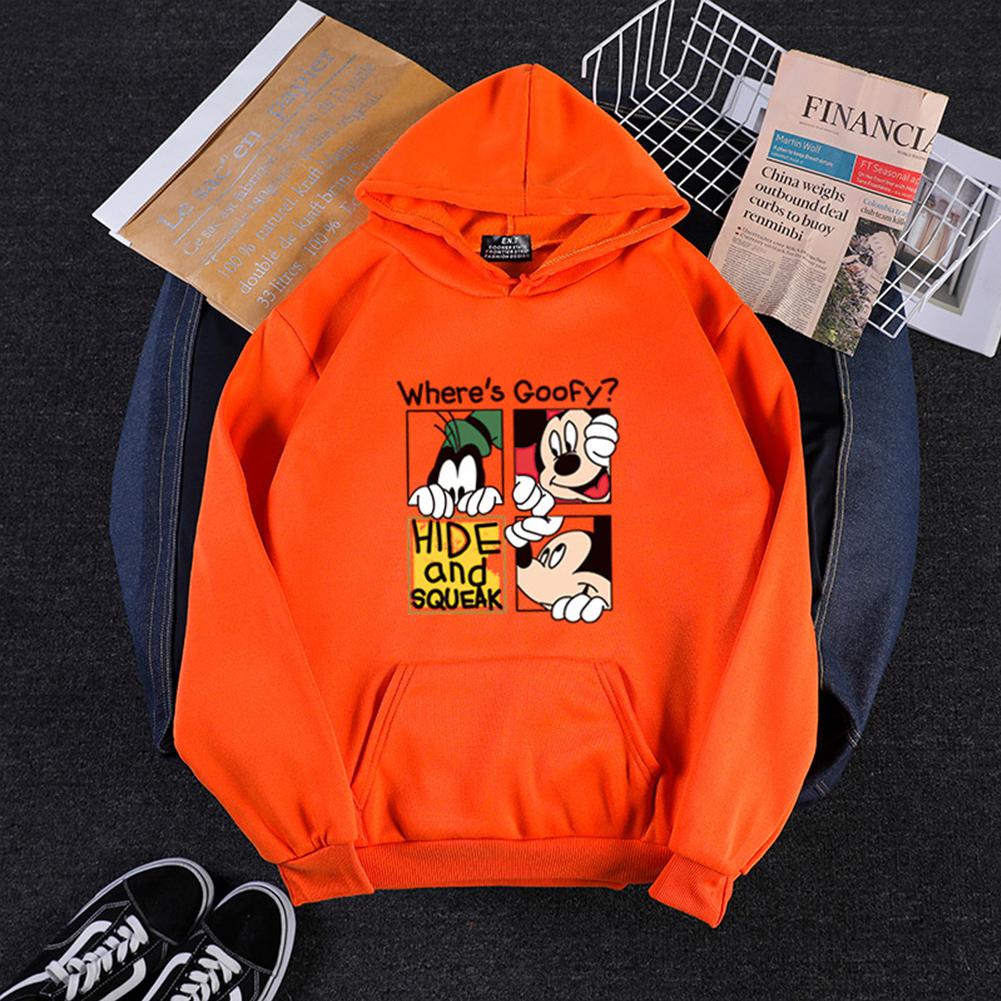Men Women Hoodie Sweatshirt Cartoon Micky Mouse Thicken Autumn Winter Loose Pullover Orange_M