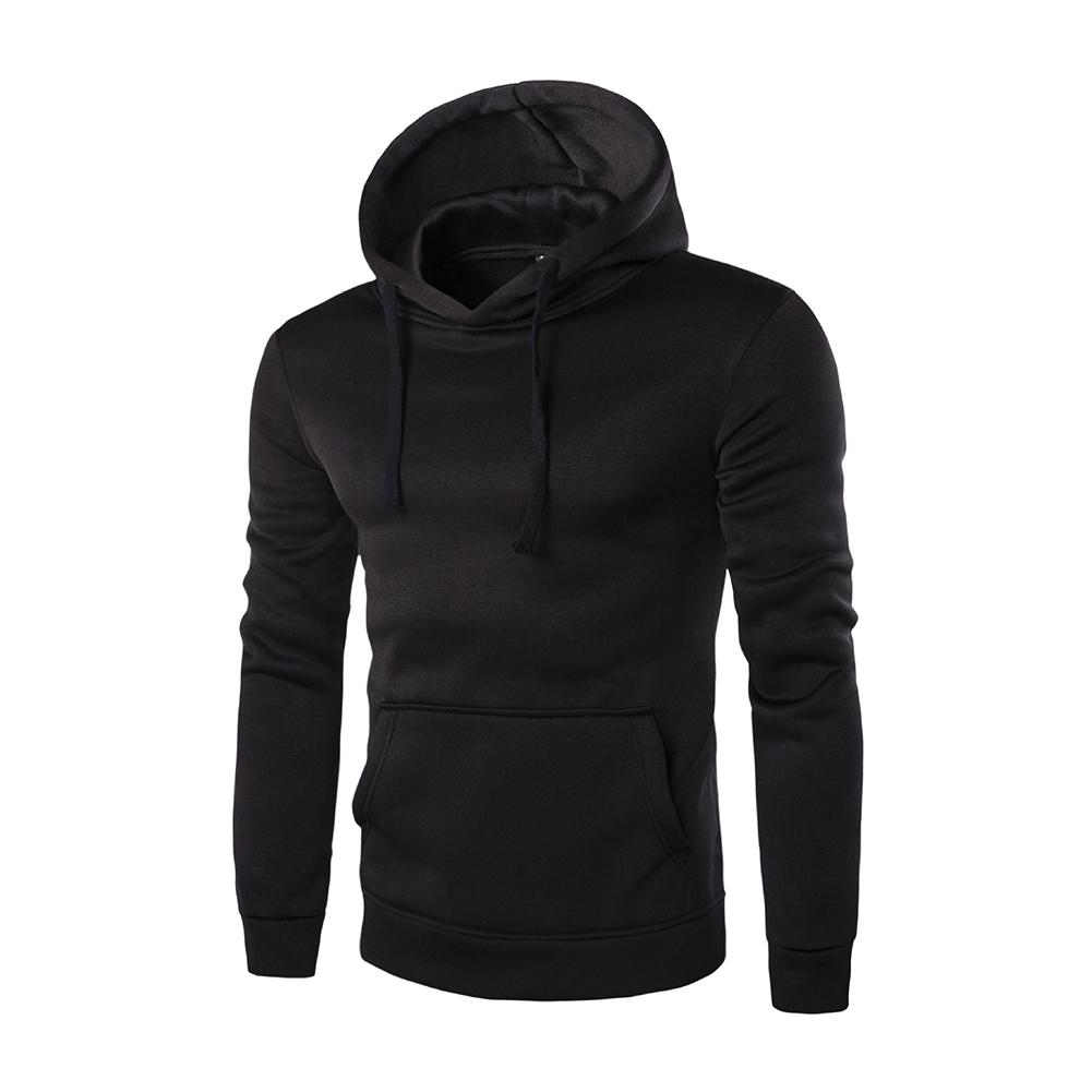 Unisex Fashion Hoodies Pure Color Long Sleeved Hoodies black_XXL