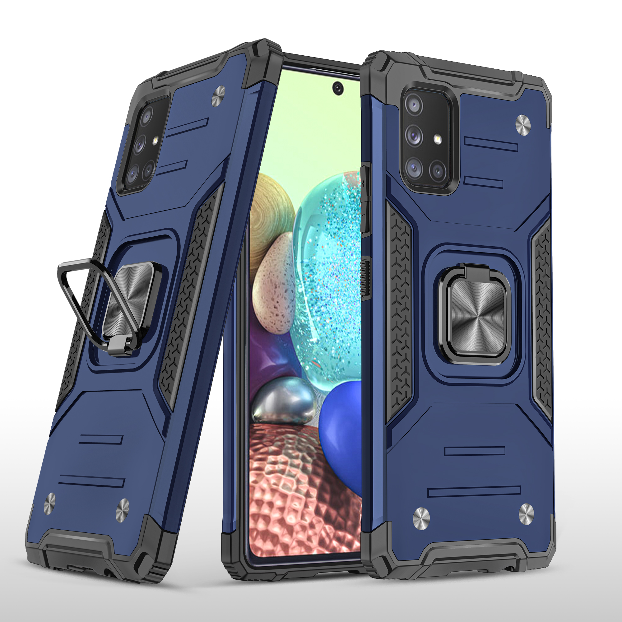 Mobile Case with Bracket TPU PC for Samsung A71 5G Anti-drop All-inclusive PVC Bag blue