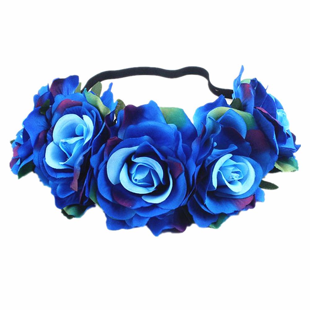 Artificial Flower Garland Rose Love Shape Wreath Headband Silk Rose Wedding Car Decor Colored blue