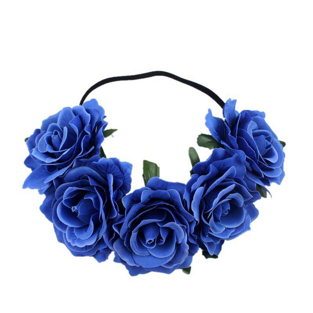 Artificial Flower Garland Rose Love Shape Wreath Headband Silk Rose Wedding Car Decor Royal blue