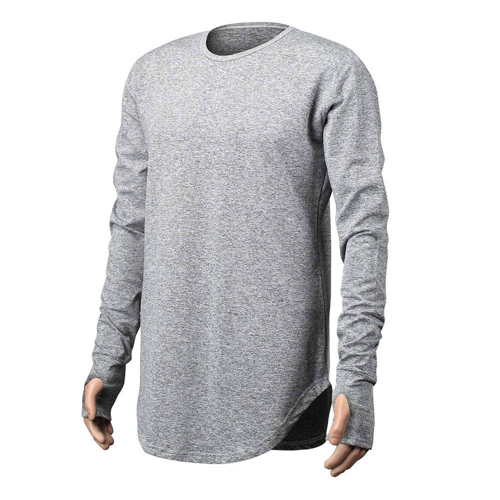 Unisex Cuff Thumb Open Design Fashion Long Sleeve T-Shirt light grey_XXL
