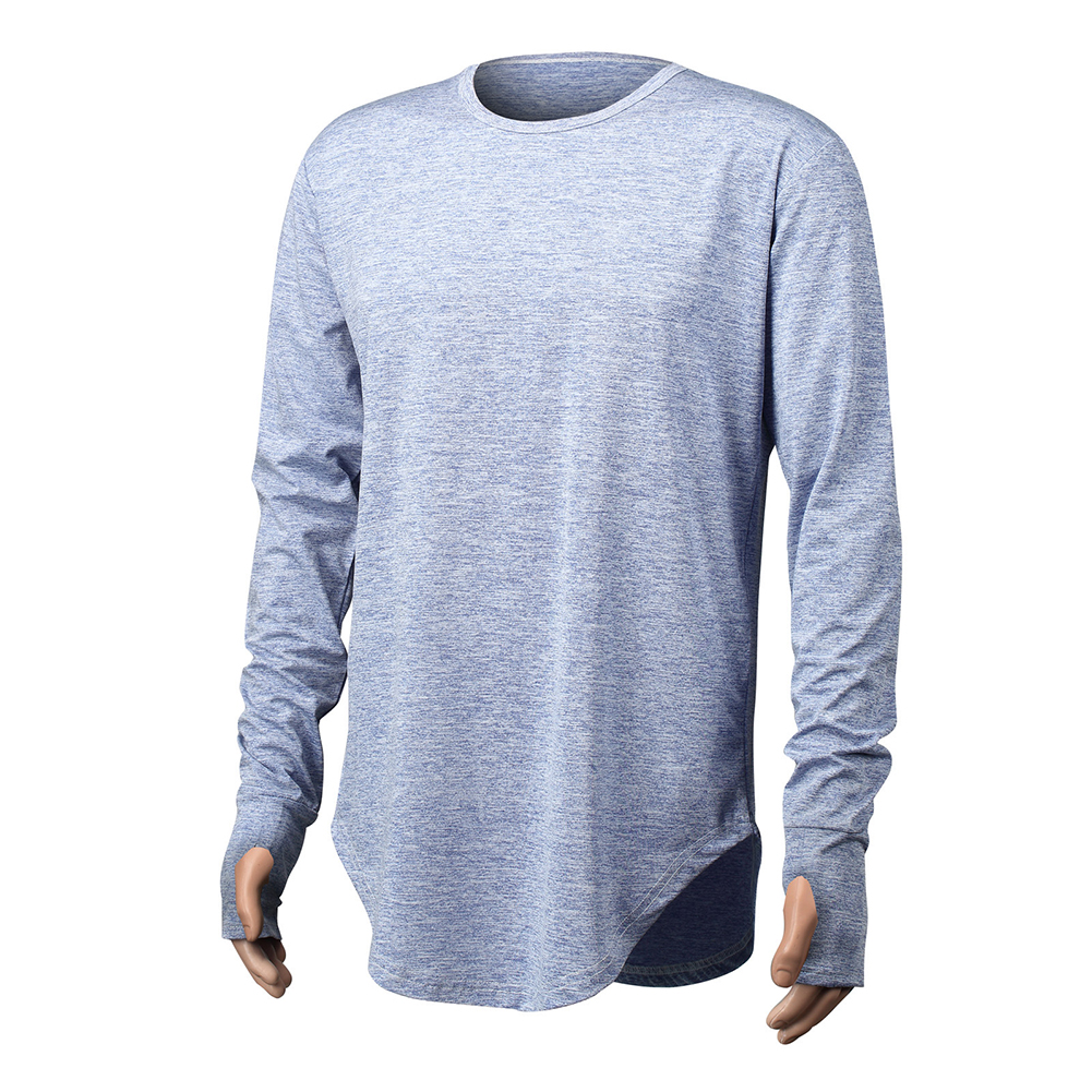 Unisex Cuff Thumb Open Design Fashion Long Sleeve T-Shirt blue_M