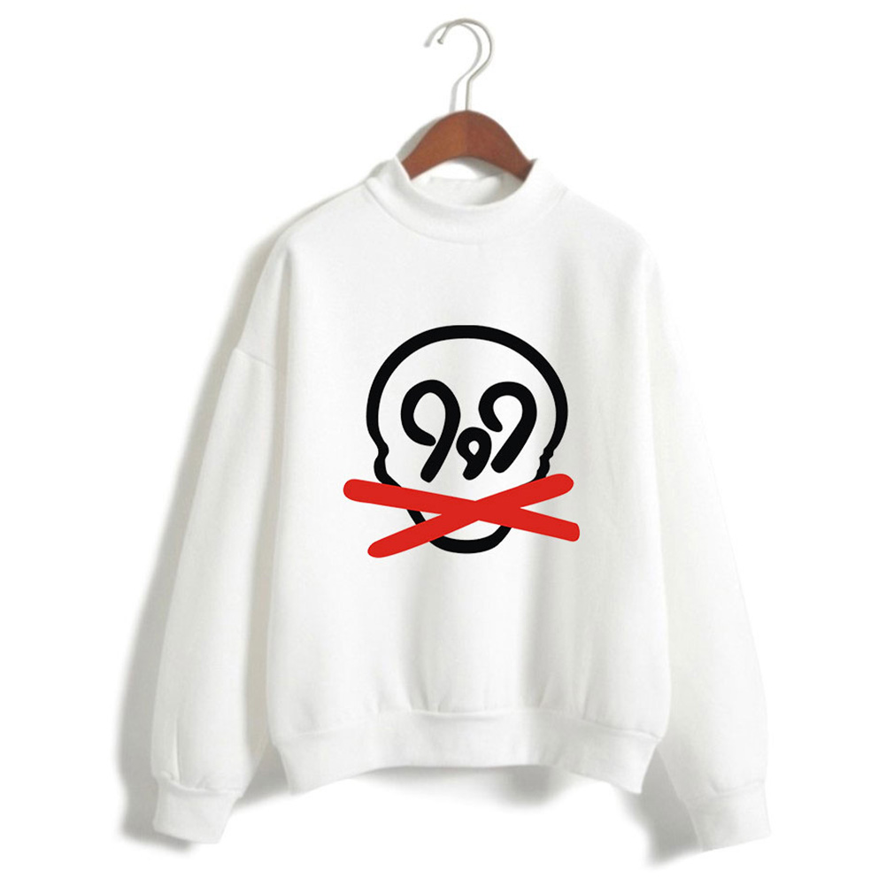 Men Women Printed Fashion Casual Turtleneck Sweater Long Sleeve Tops 2#_M