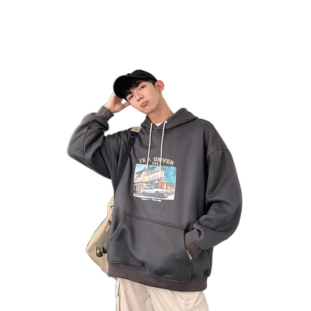 Men Women Hoodie Sweatshirt Printing Letter Car Spring Autumn Loose Pullover Tops Dark gray_M