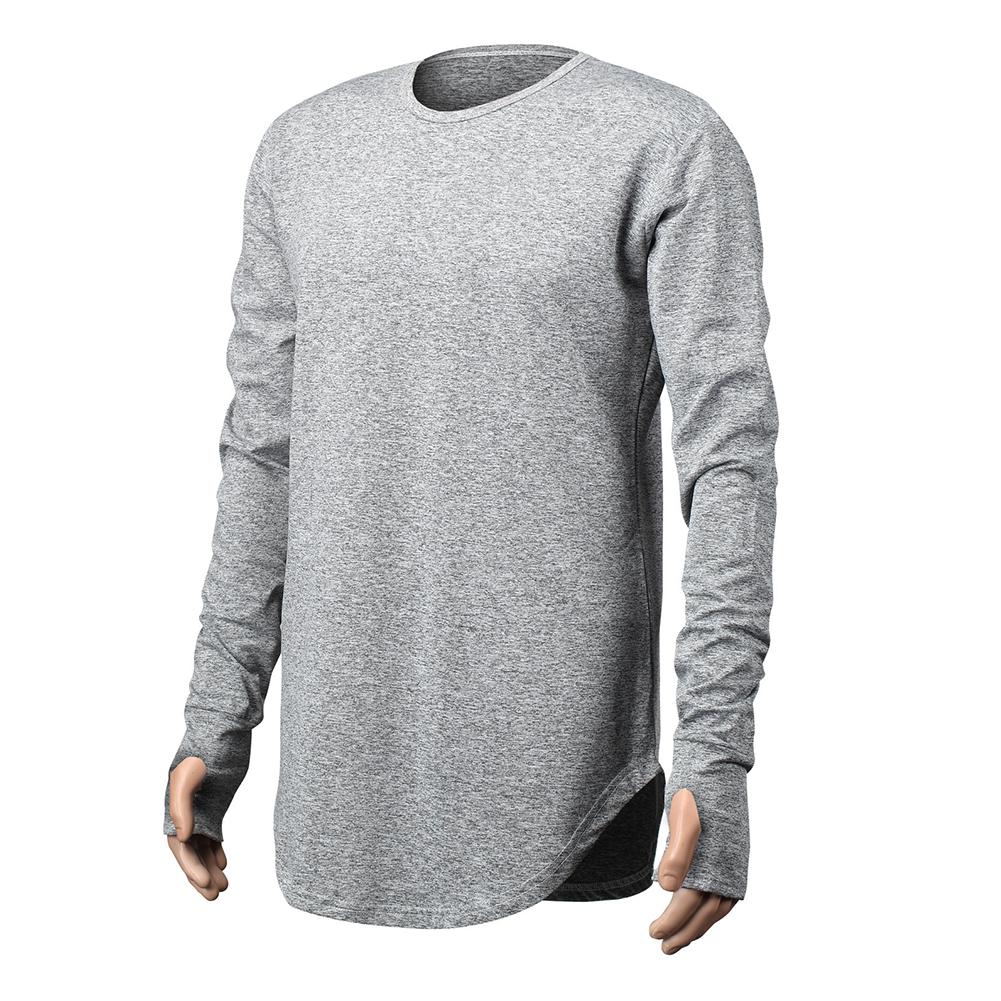 Unisex Cuff Thumb Open Design Fashion Long Sleeve T-Shirt light grey_XL