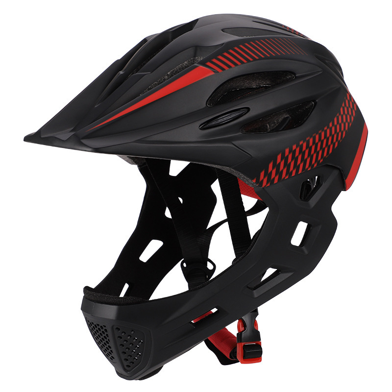 Children Bike Riding 16-Hole Breathable Helmet Detachable Full Face Chin Protection Balance Bicycle Safety Helmet with Rear Light Black red_One size