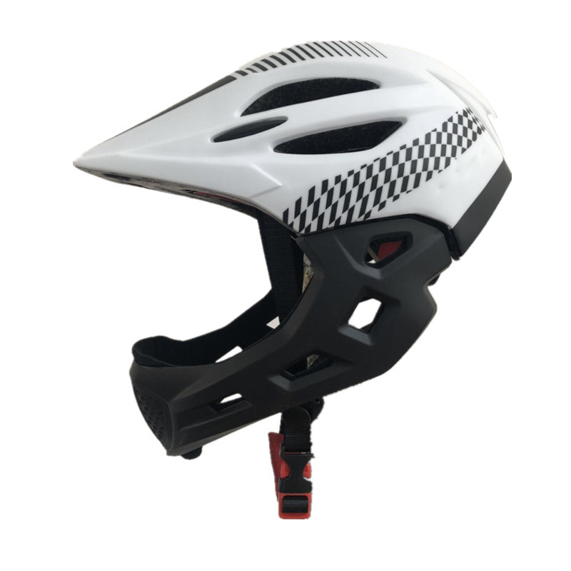 Children Bike Riding 16-Hole Breathable Helmet Detachable Full Face Chin Protection Balance Bicycle Safety Helmet with Rear Light White black_One size