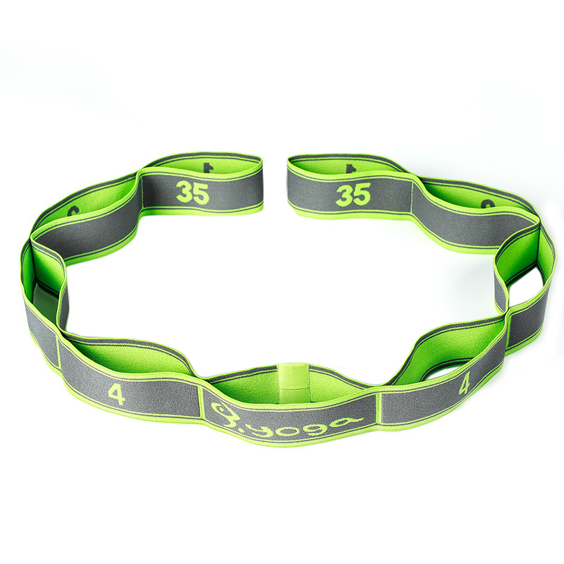 Yoga Fitness Elastic Band 9-Loop Training Strap Tension Resistance Exercise Stretching Band for Sports green