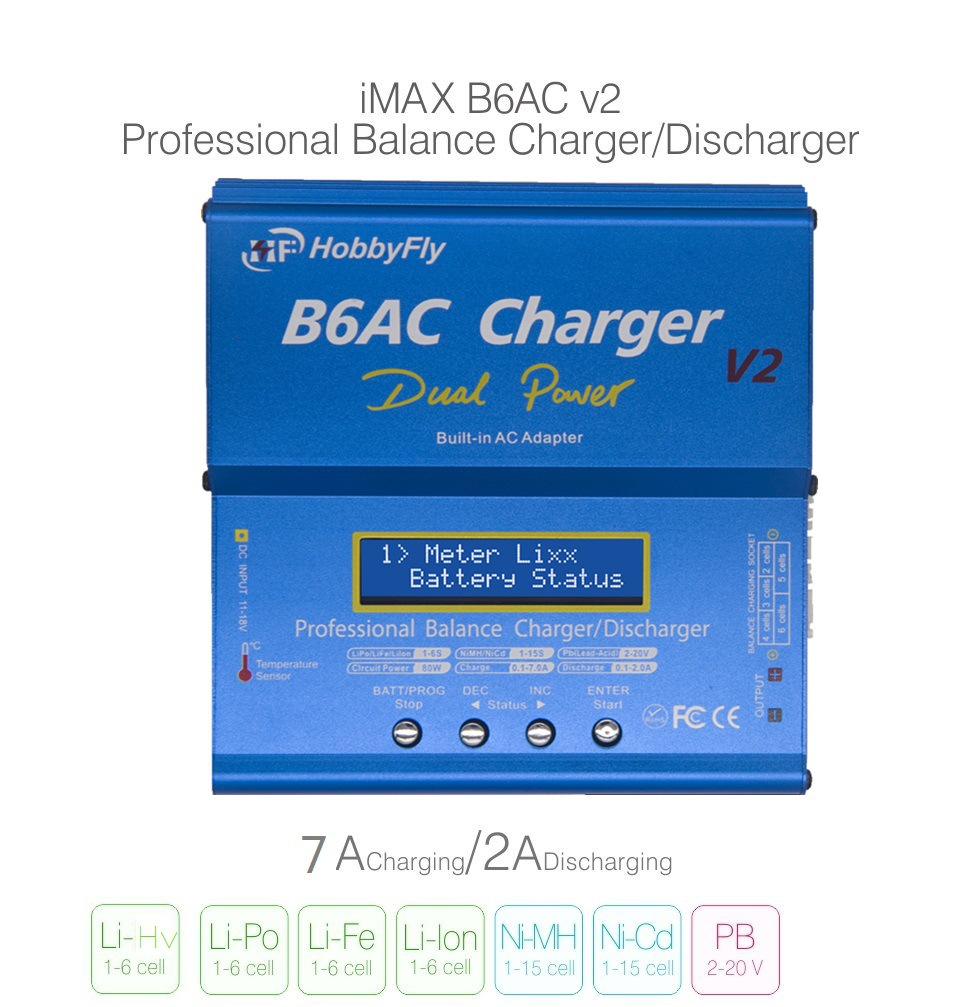 80W 6A Battery Charger Balance Charger High Power B6AC Multifunction Adapter EU Plug