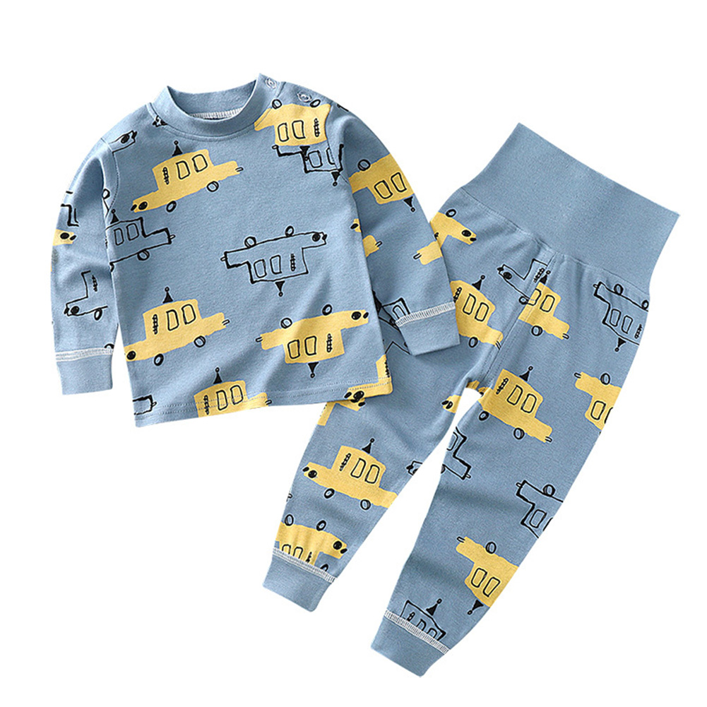 2 Pcs/set Children's Underwear Set Cotton Long-sleeve Top + High-waist Belly-protecting Pants for 0-4 Years Old Kids Blue _90