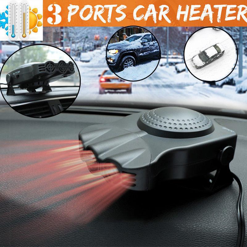 3Port 2 in 1 12V Portable Car Heater Cooling Fan Heater Defroster Demister black