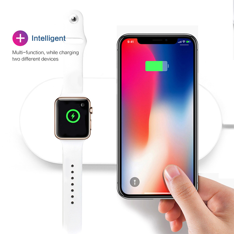 For iWatch 2 3 QI Wireless Charger Quick Fast Charging Pad for Apple Watch Sumsang iPhone white