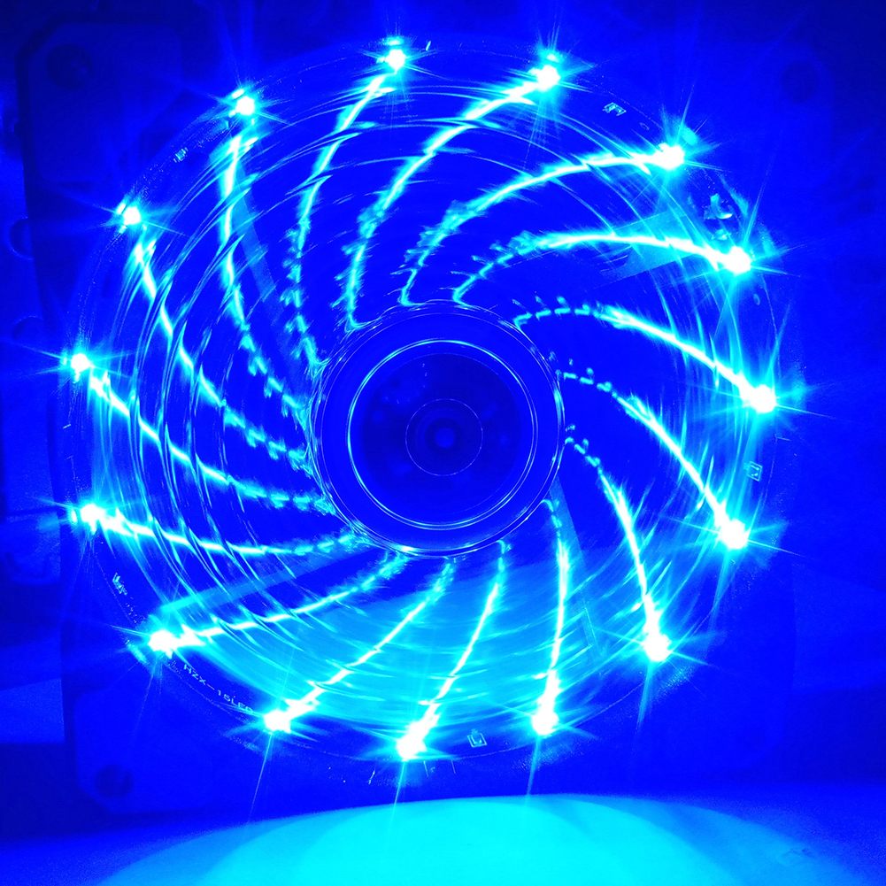 12CM 120mm Red 15 LEDs Lights Fan Cooler Case PC Computer Cooling Tool blue