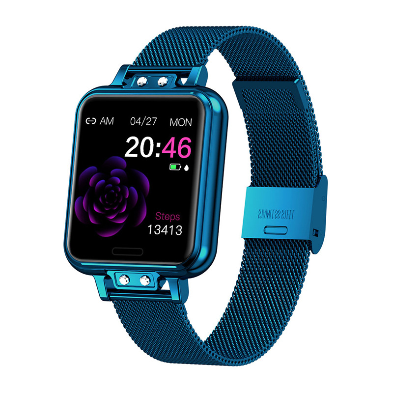Zl13 Fashion Smart Watch Stainless Steel Heart Rate Blood Pressure Color Screen Smartwatch Blue