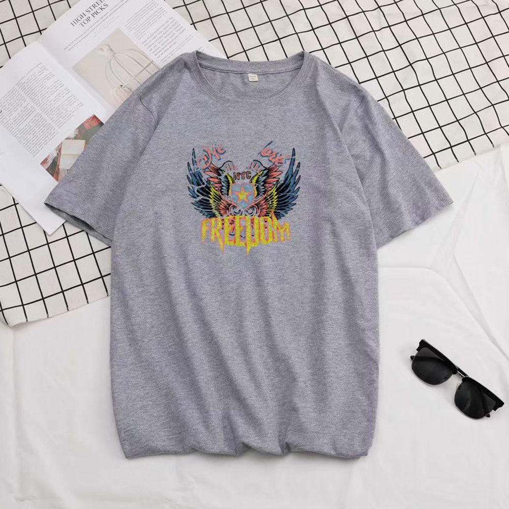 Short Sleeves and Round Neck Shirt Leisure Pullover Top with Unique Pattern Decorated 699 gray_L