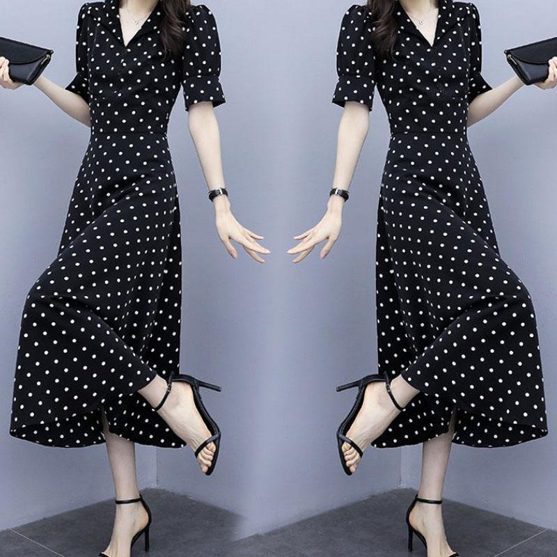 Summer Slim V-neck A-line Dress Simple Dot Flare Sleeves Middle Long Causal Dress black_L