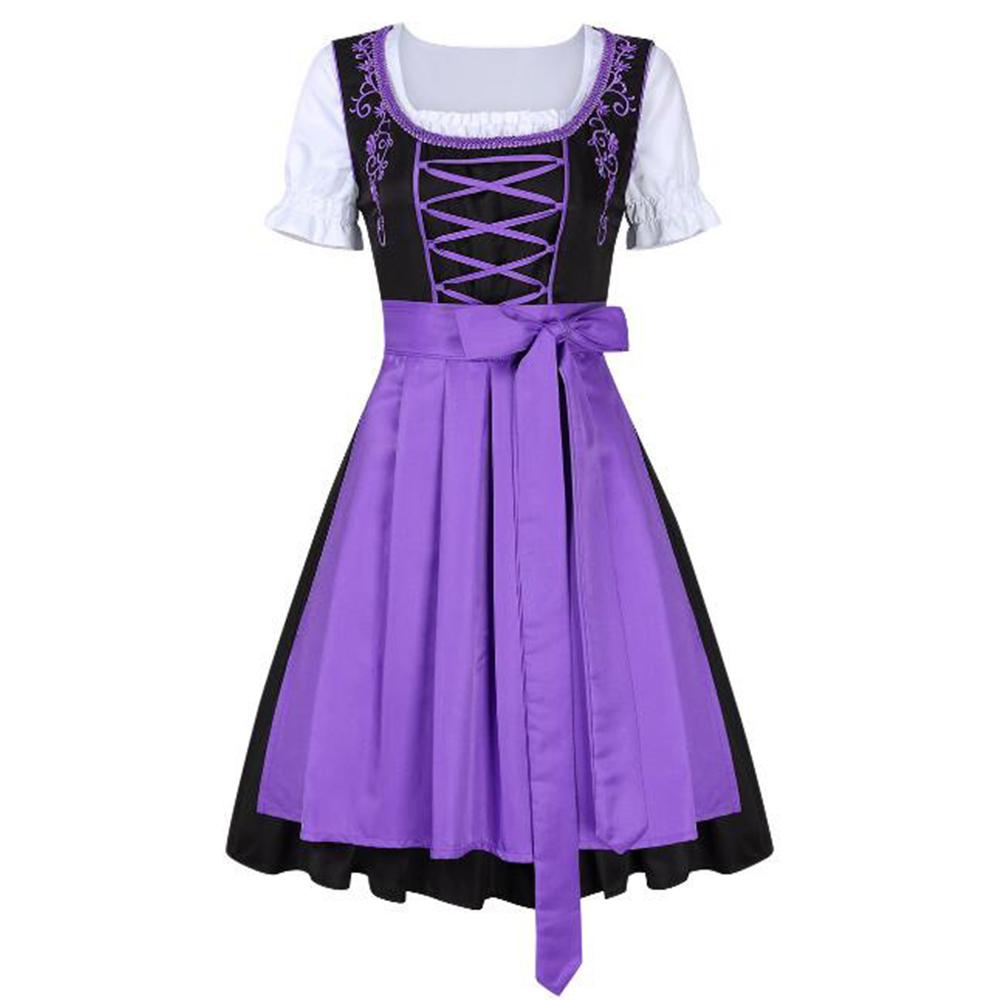 3pcs/set Female Bavarian Traditional Dirndl Dress Elegant Dress for Beer Festival  purple_M