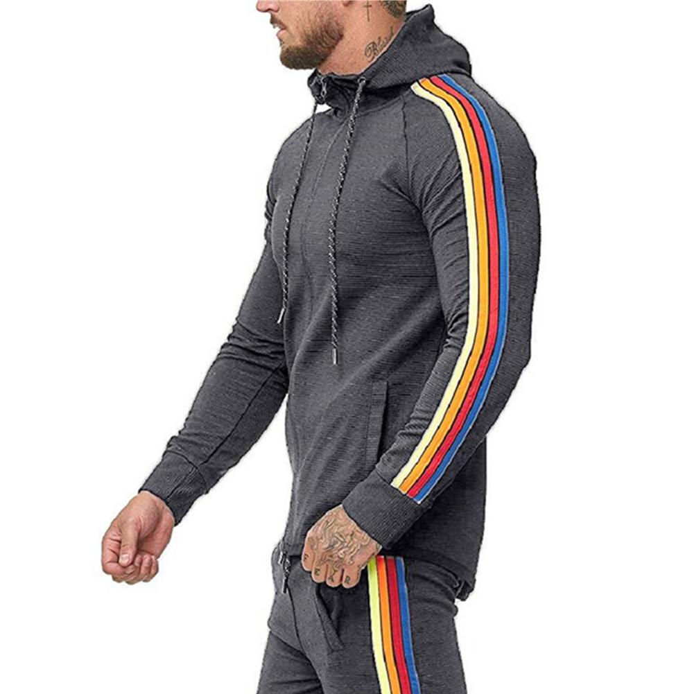 Men Pinstripe Sweatshirt Color Stripe Fashion Zipper Cardigan Hooded Sweatshirt gray_XL