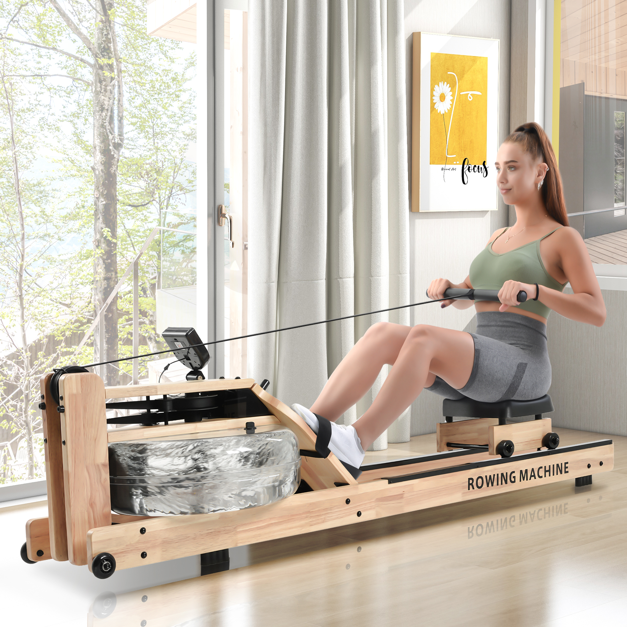 [US Direct] Water Resistance Oak Rowing Machine, Bluetooth Monitor,Workout For Home Gym