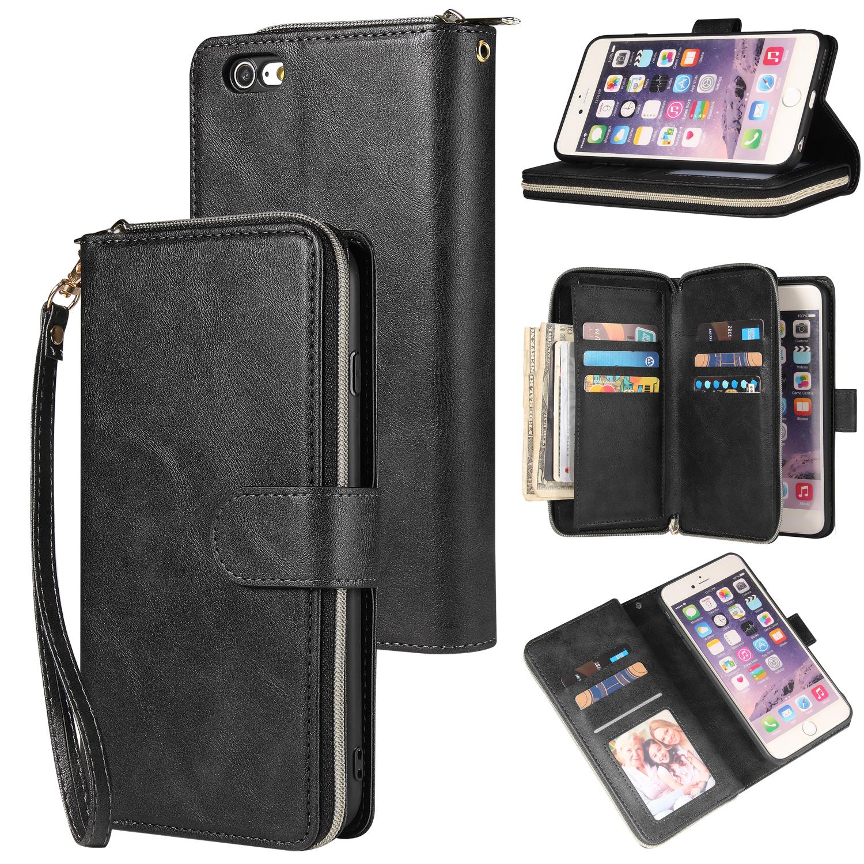 For Iphone 6/6s/6 Plus/6s Plus/7 Plus/8 Plus Pu Leather  Mobile Phone Cover Zipper Card Bag + Wrist Strap black