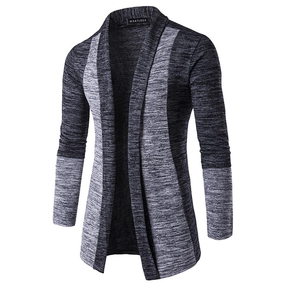 Long Sleeve Knitted Sweater Shawl Ruffle Collar Long Length Cape Coat Cardigan for Man Dark gray_L