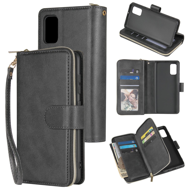 For Samsung A01/A21/A31/A41/A51 Pu Leather  Mobile Phone Cover Zipper Card Bag + Wrist Strap black