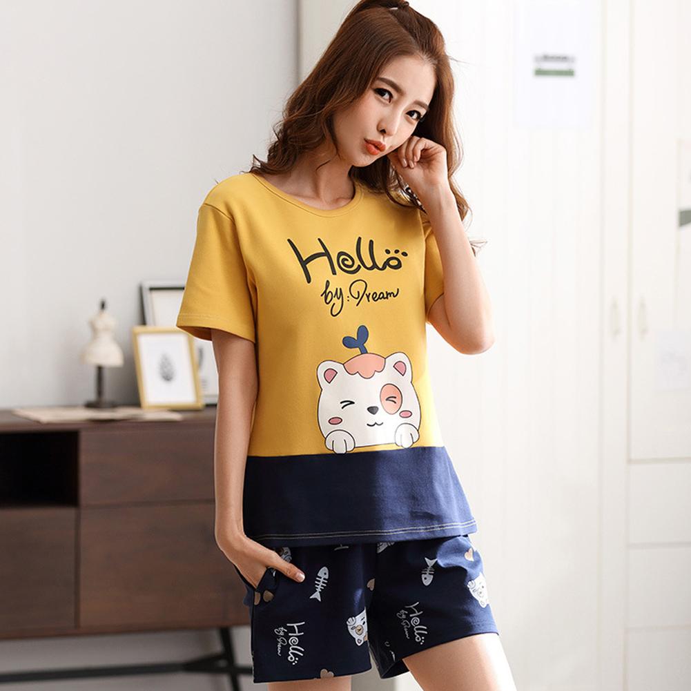 Couple Summer Cotton Thin Round Neck Short Sleeve Shirt + Shorts Pajamas Set Home Wear Couple 8 Women_M