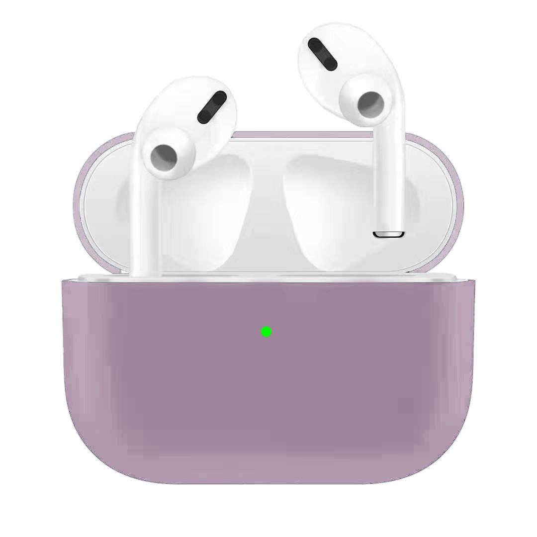 Silicone Earphone Case For Airpods Pro Shockproof Cases For Apple Bluetooth Headset Protective Cover lilac