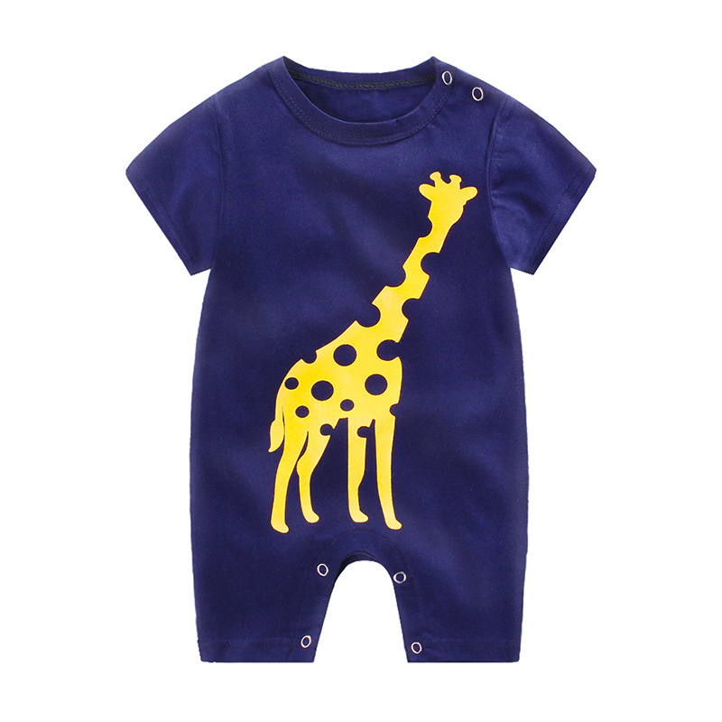 [Indonesia Direct] Infant Summer Cartoon Printing Short Sleeve Jumpsuit Button Open-Crotch Romper for Babies Toddlers Navy giraffe_80cm