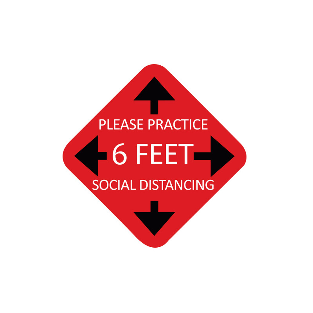 Keep Your Distance Floor Sticker for Queue Distance Crowd Control A