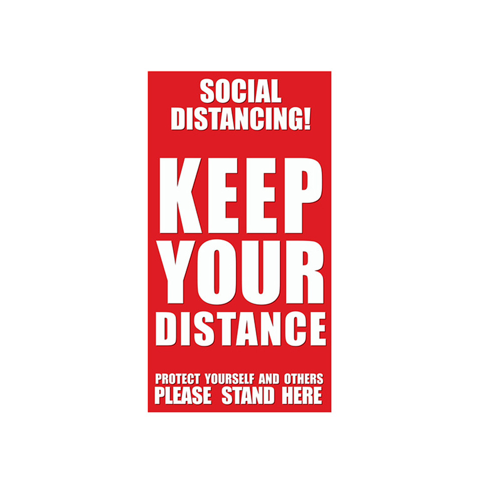 Keep Your Distance Floor Sticker for Queue Distance Crowd Control D