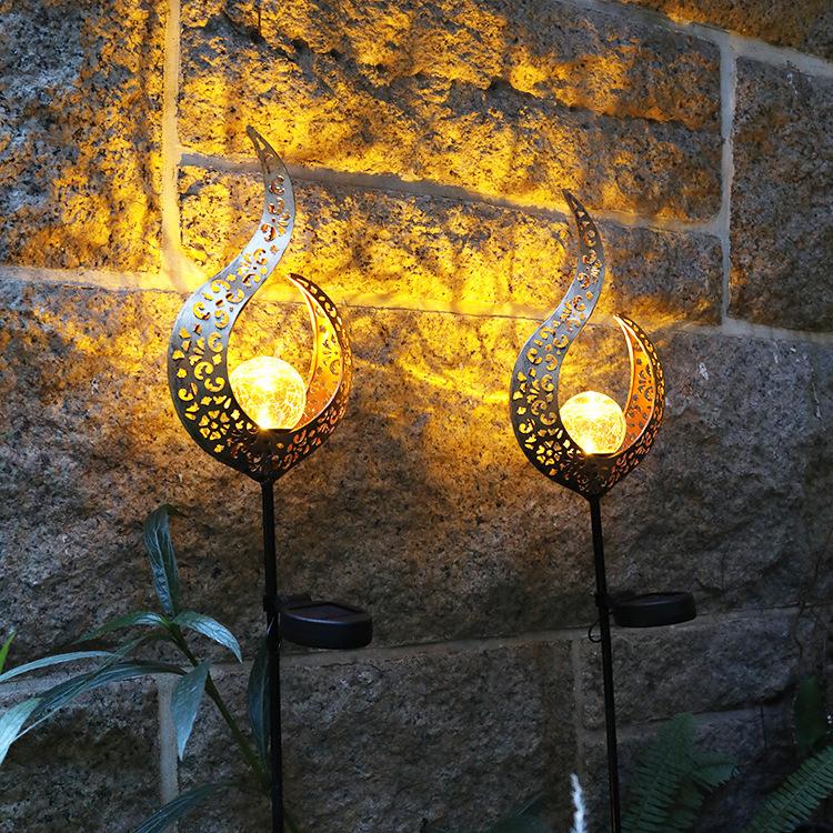 Solar Power Light Metal LED Ornament Landscape Light Outdoor Flame Effect Lawn Yard Garden Decor