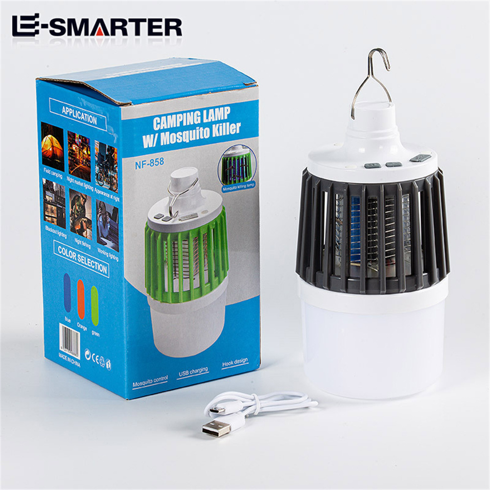 Led Electric Mosquito  Killer Light Outdoor Waterproof USB Rechargeable Mosquito Trap Gray