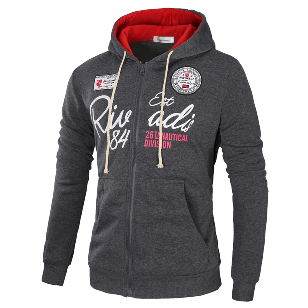 Men's Sweatshirts Letter Printed Long-sleeve Zipper Cardigan Hoodie Dark gray and red _2XL