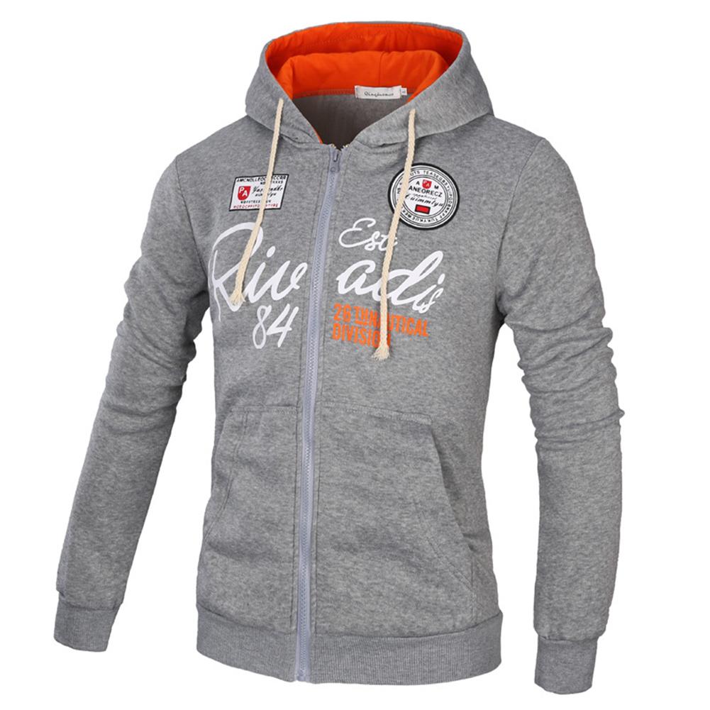 Men's Sweatshirts Letter Printed Long-sleeve Zipper Cardigan Hoodie Light gray_M