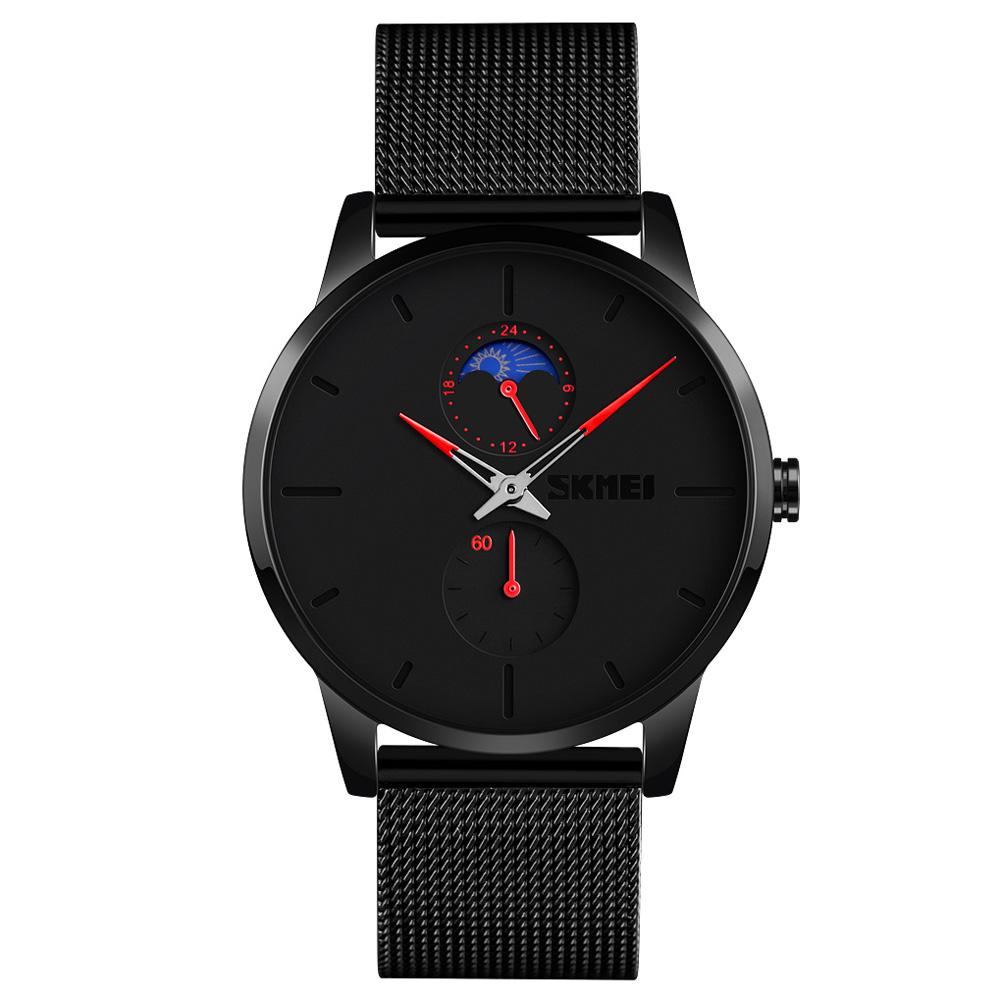 SKMEI Men Quartz Watch Second 24-Hour Display Waterproof Stainless Steel Simple Wristwatch Red