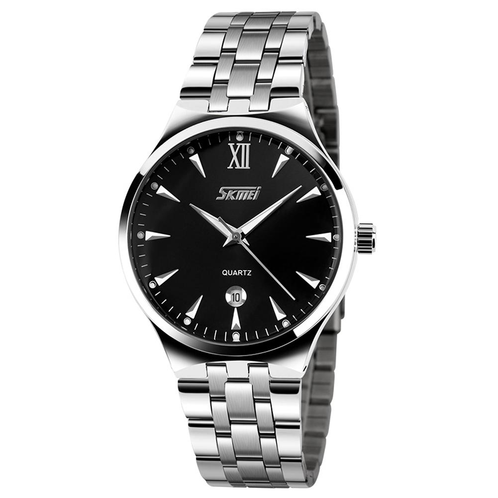 SKMEI Men Sports Quartz Watch Date Display Luminous Waterproof Stainless Steel Wristwatch Black