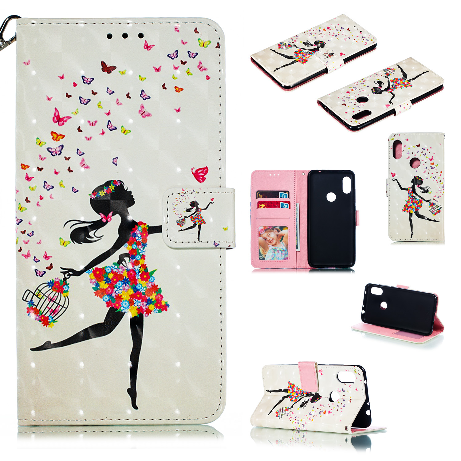 For Xiaomi Redmi NOTE 6/NOTE 6 PRO 3D Coloured Painted PU Magnetic Clasp Wallet Stand Phone Case with Lanyard