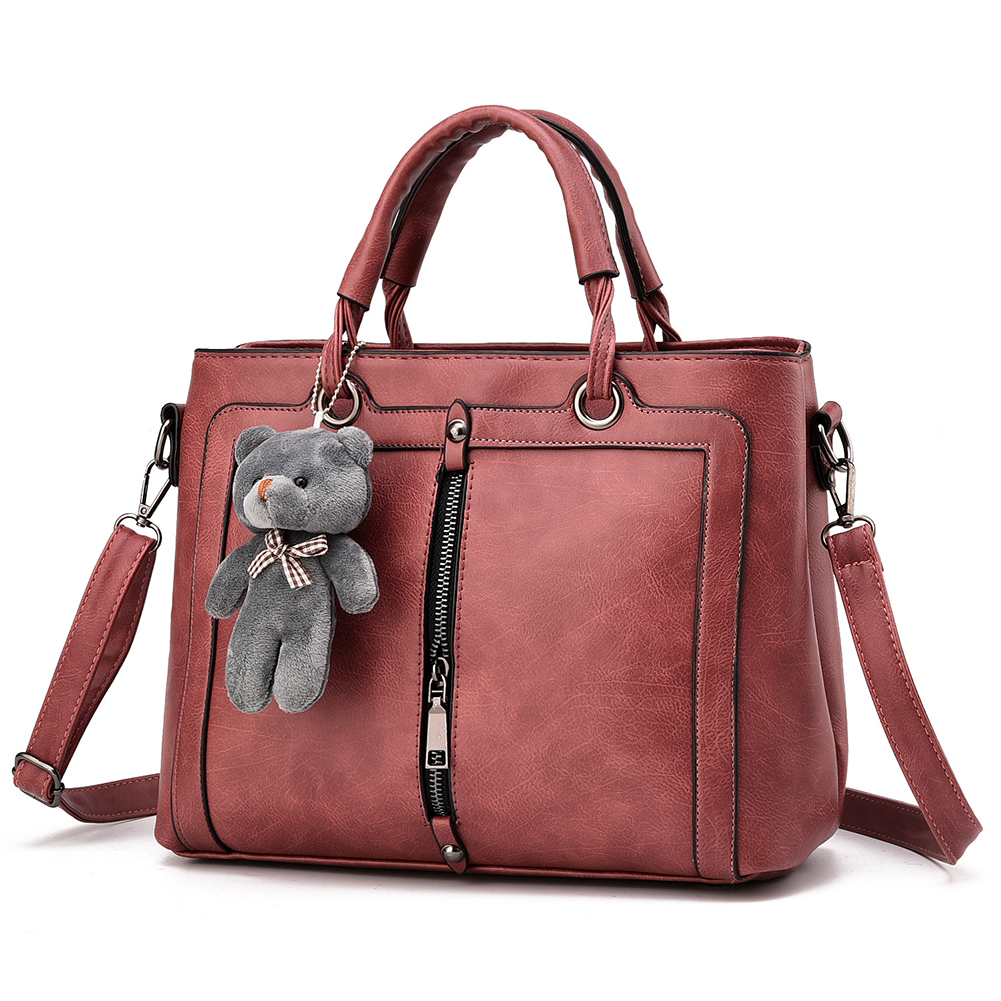 Women Solid Color Zipper Bear Crossbody Shoulder Bag Handbag