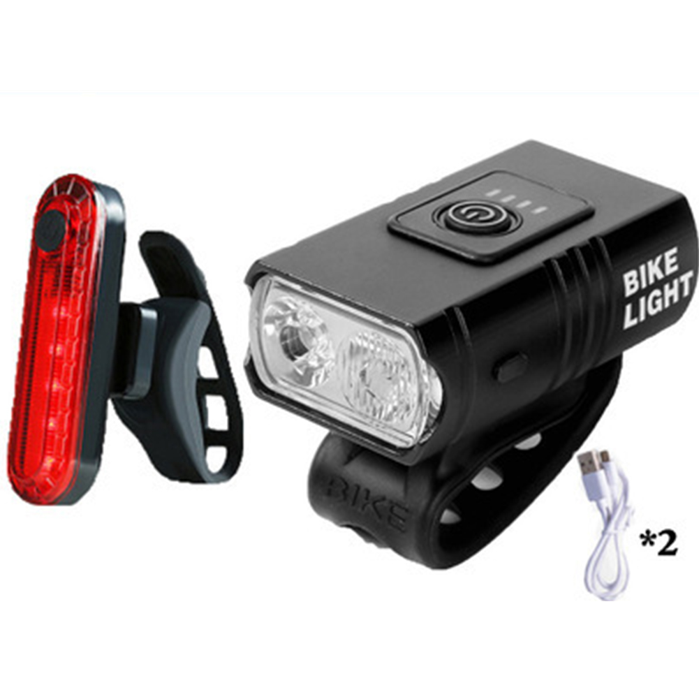 Bicycle  Headlight T6 Battery Indicator Light Safe Near High Beam Headlights Usb Rechargeable Bicycle Lights Double lamp beads +056 tail light